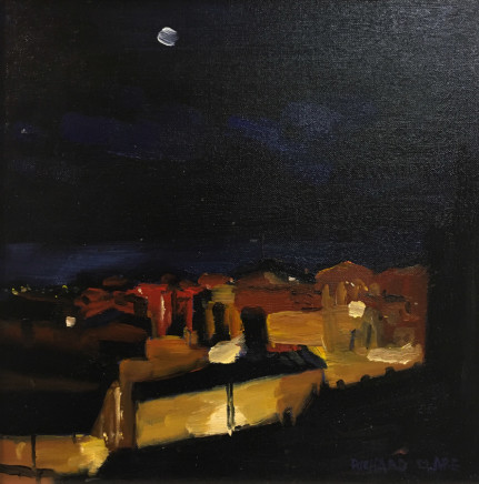 Richard Clare, Moonlit Night, Village in Provence, France