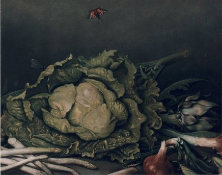 Jakob BECK, A Still Life with Vegetables Including Artichokes, Asparagus and Onions, with a Butterfly and a Dragonfly, 1760