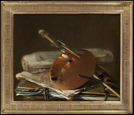 Nicolas Henry Jeurat de BERTRY, An artist's palette with brushes, a mahl stick, a knife, papers and portfolios, 1756