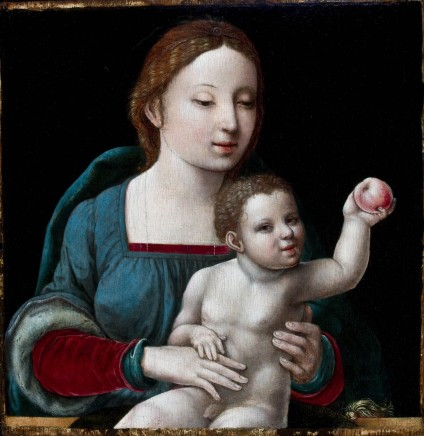 Master of the FEMALE HALF LENGTHS, Virgin and Child with an Apple