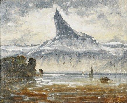 Peder BALKE, Distant View of Mountain Stetind, Norway