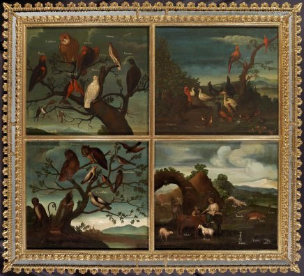 Buenaventura José Guiol, Set of Four Paintings Depicting the Fauna and Landscape of Mexico