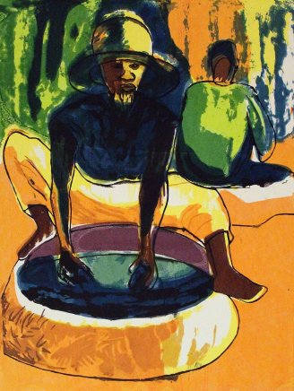 Bruce Onobrakpeya, Zaria Dye Pits (Yellow Base): A Revisit of the Sunshine Period (1960 - 70)