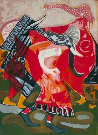 Bruce Onobrakpeya, Three Elephant Masquerades: A Revisit of the Sunshine Period (1960 - 70)