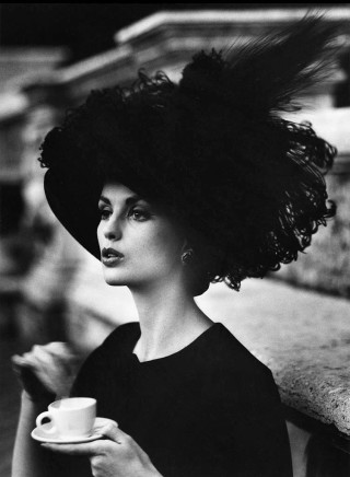 William Klein, Dorothy + Coffee + Feathered Hat, Rome (Vogue), 1960