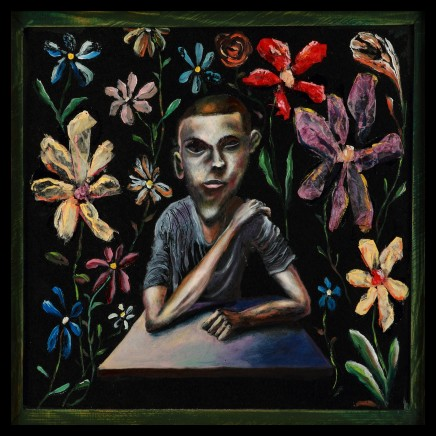 Carlos Cortes, Boy With Flowers, Blind Reader I, 2012