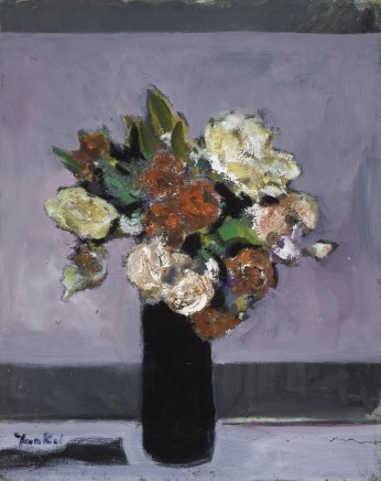 Yankel Feather, Flowers in a Black Vase, 1995