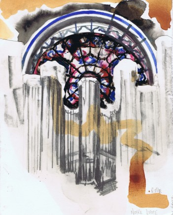Lily Forwood, Rose Window Sketch, Notre Dame de Paris