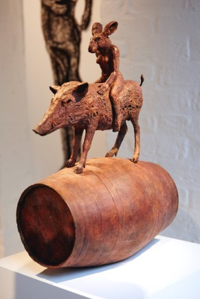 Sophie Ryder, Ladyhare and Boar on a Barrel Maquette, 2017