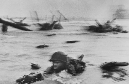 Robert Capa, The first wave of American troops landing on D-Day, Omaha Beach, Normandy, France, 1944