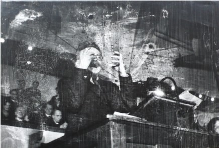 Robert Capa, Leon Trotsky lecturing in Copenhagen, Denmark, November 27, 1932
