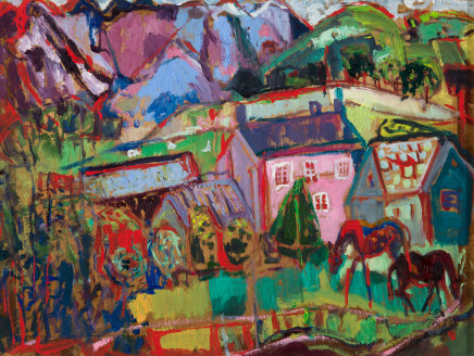 Leonie Gibbs, Pink Farmhouse with two Appaloosas, 2017