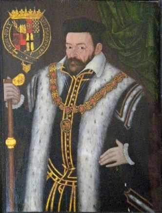 English School, Portrait of Edward Stanley, 3rd earl of Derby, wearing a cap and ermine-trimmed surcoat on top of a gold-trimmed doublet and open lawn collar. He wears the chain of the Order of the Garter, and holds a staff of office. To the upper left is a large coat of