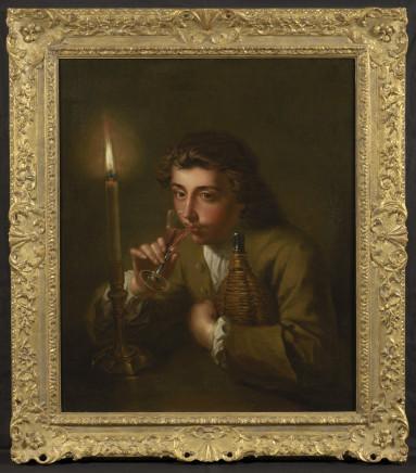 Philip Mercier, Boy drinking wine by candlelight, c.1750