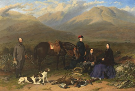 "Jacob Thompson, ""A View of Cumloden in the Highlands of Scotland"" : Robert and Elizabeth Edwards with their son and daughter and their favourite pointers and pony and a mixed day's bag; their old coachman beyond."