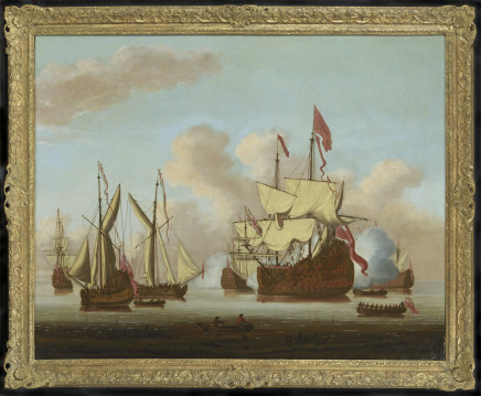 Cornelis van de Velde, A ship of the line of the Red Squadron firing a salute among various yachts