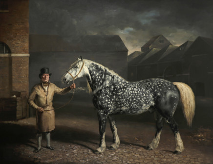 Philip Reinagle, Portrait of a Percheron and his groom at the Simonds brewery, Reading