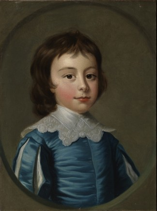 Thomas Hudson, The eldest children of Charles Noel, 4th Duke of Beaufort: Head and shoulders portraits of Henry (1744-1803; later 5th Duke) a little boy dressed in blue Van Dyck costume, and his sister Lady Anne Somerset, (1741-1763) in a white dress set with pink ribb