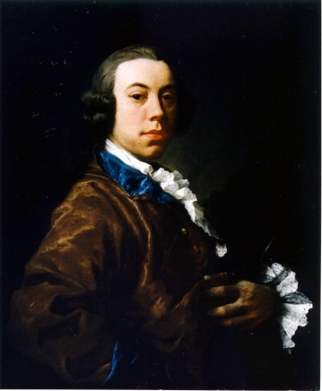 Gaspare Traversi, Head and shoulders portrait of Sir Thomas Saunders Sebright, 5th Bart., Of Beechwood and Besford, dressed in a dark maroon and blue trimmed wrap, looking over his right shoulder