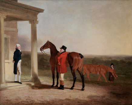 Ben Marshall, Captain Barrington Price with his favourite hunter outside Beckett House, Berkshire, with his brother Major Price on the portico