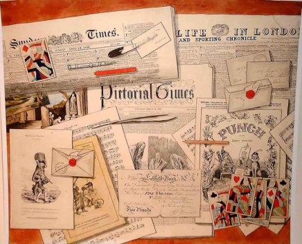Charles Parker, A still-life of newspapers, letters, playing cards, printed music a £5-note and other ephemera