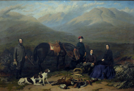 """Jacob Thompson, """"A View of Cumloden in the Highlands of Scotland"""" : Robert and Elizabeth Edwards with their son and daughter and their favourite pointers and pony and a mixed day's bag; their old coachman beyond."""