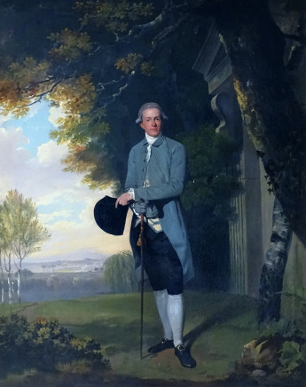 Francis Wheatley, Portrait of Thomas Grimston of Kilnwick Hall (1753-1821) standing by a classical portico in an extensive wooded landscapes