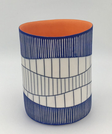 Lara Scobie, Cylinder Vase in Deep Blue and Orange, 2019
