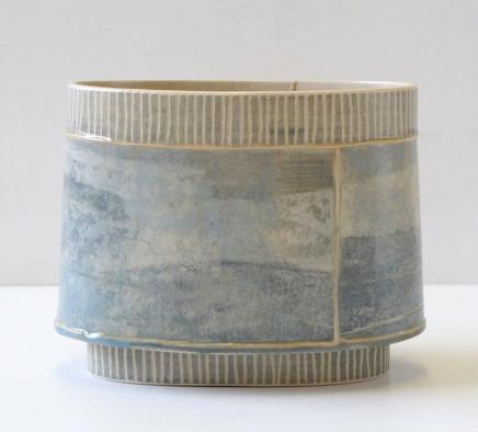 Emily-Kriste Wilcox, Small Oval Vessel, Navy Fine Stripe, 2017
