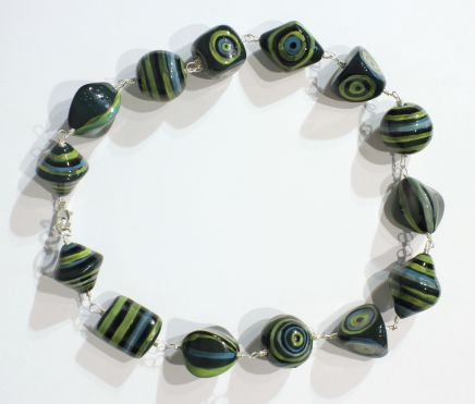 Elinor Lamond, Green and Blue Striped Necklace , 2017