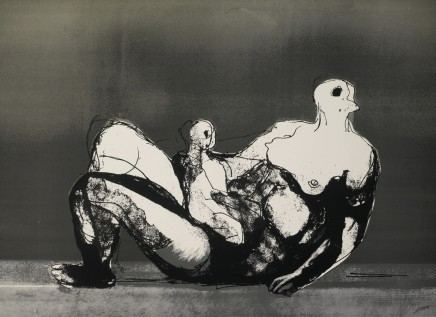 Henry Moore OM CH, Reclining Mother and Child with Grey Background, 1982