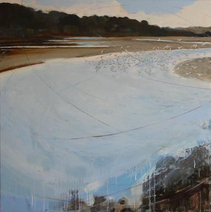 Sara Dudman RWA, Golden Plover and Herring Gulls (Hayle Estuary) 3, 2019