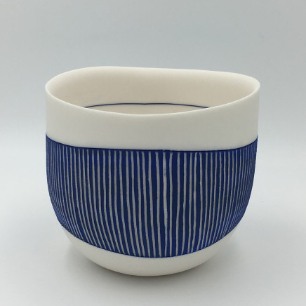 Lara Scobie, Bowl with Fine Blue Stripes, 2019