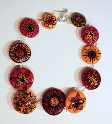 Elinor Lamond, Red & Orange Disc necklace, 2017
