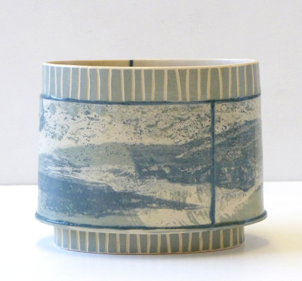 Emily-Kriste Wilcox, Small Oval Vessel, Grey Stripe with Navy Joins, 2017