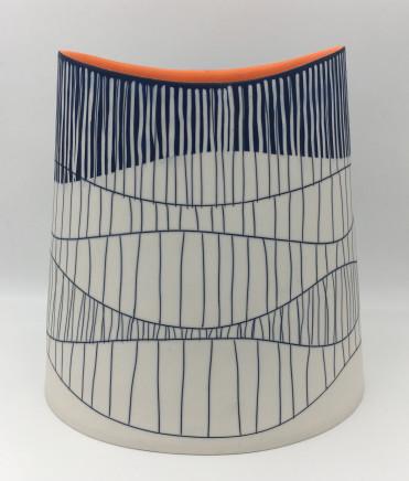 Lara Scobie, Large Oval Vessel with Orange Interior, 2019