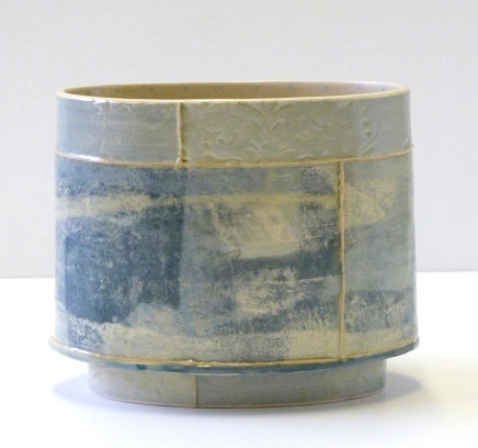 Emily-Kriste Wilcox, Small Oval Vessel, Pale Blue Print with Yellow, 2017
