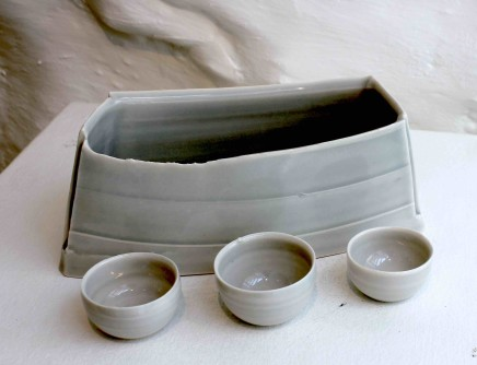Carina Ciscato, Pale Grey/Blue Elongated Pot with Three Bowls, 2018