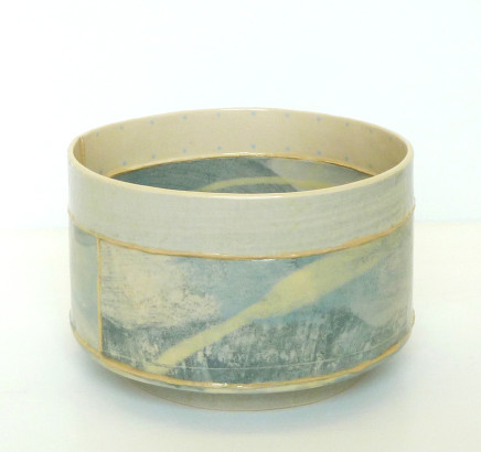 Emily-Kriste Wilcox, Short Vessel, Pale Blue Print with Yellow, 2017