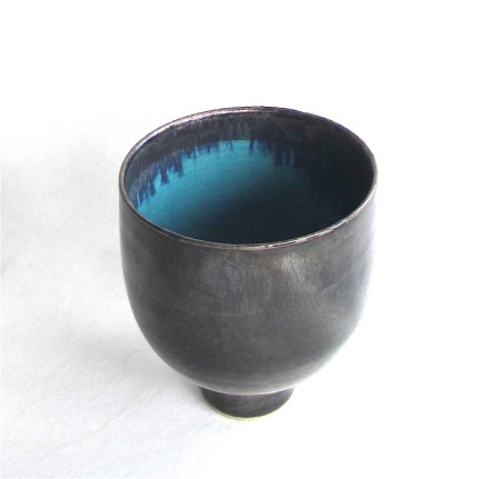 Sarah Perry, Tall Silver Lustred Blue Bowl, 2019