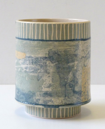 Emily-Kriste Wilcox, Small Vessel, Pale Grey Fine Strop, Navy Joins and Sandy Orange Accent, 2017