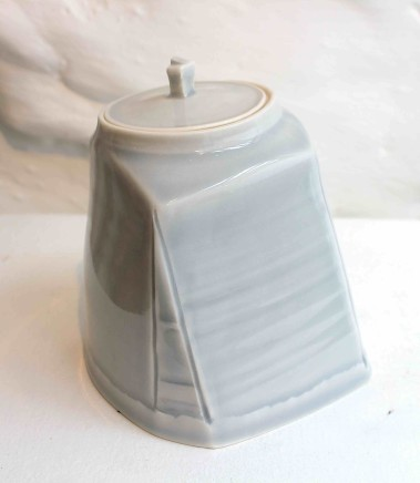 Carina Ciscato, Pale Grey/Blue Lidded Pot, 2018