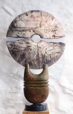 Peter Hayes, Raku Disc on Bronze Base, 2018