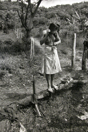 Larry Towell, Guerilla Recruit, Morazán, El Salvador [woman washing hair], 1991