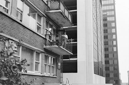 Sunil Gupta, Sunil on the balcony, 3425 Stanley, circa 1975