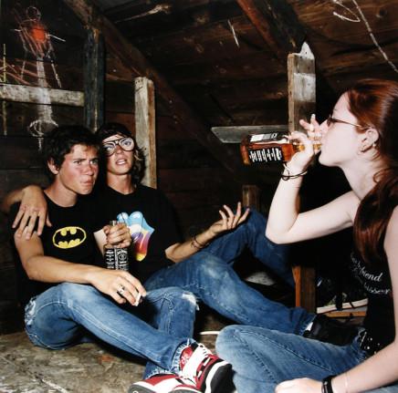 Jaret Belliveau, Untitled [drinking whiskey in attic], 2005