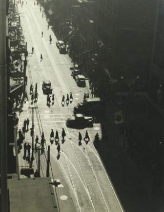 Charles Devenish Woodley, Pedestrians Obey Traffic Signal, from top of Imperial Bank at Yonge & Queen Sts., 12:30 PM, 1940