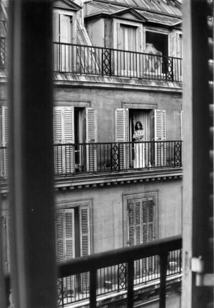 André Kertész, Paris [Woman on balcony], July 12, 1975