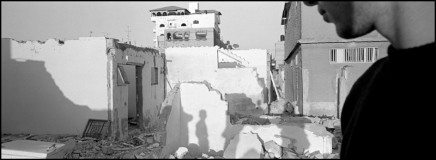 Larry Towell, Rafah Refugee Camp, Gaza Strip [destroyed Palestinian houses at Egyptian border - shadows on broken walls], 2003
