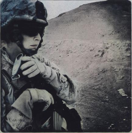 Rita Leistner, Close up portrait of female Marine in desert, 2011